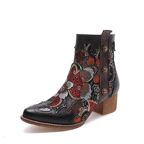 Zhuowei Damen Stiefeletten Mit Hohen Absatz Plateau Ankle Boots Kurz Stiefel High Heels Schuhe Reißverschluss Winter-Boots in Robuster Leder-Optik,36