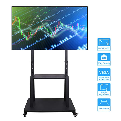 Tall TV Cart Mobile TV Stand with Mount Adjustable Height, Lockable Casters and AV Shelves for Extra Large Flat Panel Screen up to 100 Inch VESA 800x600 Load 176lbs