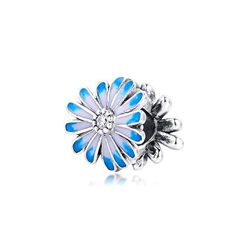 LILIANG DIY Blue Flower Charm Bracelets Girl Charm Beads para Jewellry 925 Sterling Silver Jewellry