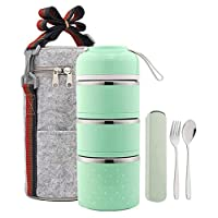 Hukphd 保温ランチバッグ付き弁当箱、ベントボックススタッカブルステンレス製ランチ収納容器、保温フード付き保温袋付き3層ピンク 、オン・ザ・ゴー食事やスナックパッキング (Color : Green)
