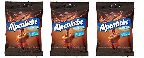 3x Perfetti Alpenliebe Espresso Caramelle Colate senza zucchero Bonbon mit echtem Kaffee zuckerfreie Süßigkeiten Lollies 80g Beutel