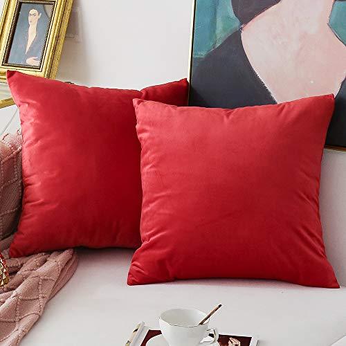 Natus Weaver Pack of 2,Velvet Soft Soild Decorative Red Square Throw Pillow Cover Set Cushion Case for Sofa Office Car 20 x 20 Inch 50 x 50 cm