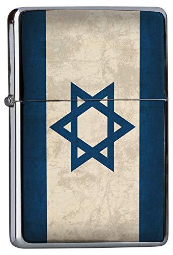 Chrom Sturm Feuerzeug Benzinfeuerzeug aus Metall Aufladbar Winddicht für Küche Grill Zigaretten Kerzen Bedruckt Urlaub Reisebüro Israel Flagge