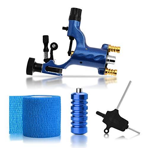 ATOMUS Rotary Tattoo Machine Gun Kit Professional Liner Shader Tattoo Motor Machine with Grip Tube Wrench Elastic Bandage Beginners Tattoo kit Tattoo Supplies (Blue)