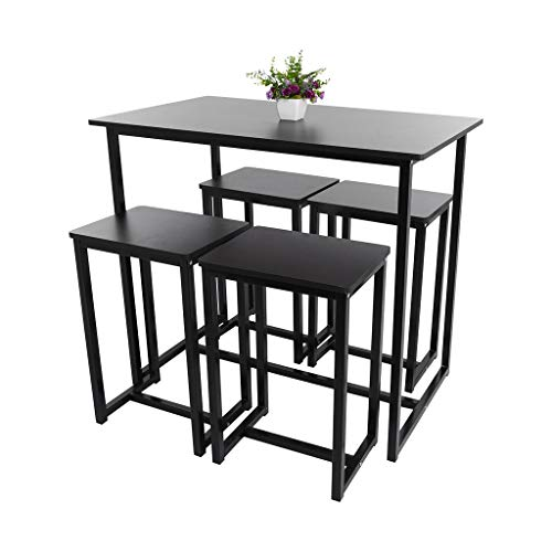 Bar Table and Stools Set, Black Counter Height Table, Dining Table and Chairs Set, Modern Wood Kitchen Table with 4 Stools for Patio Nook Office Use, Home Furniture Black