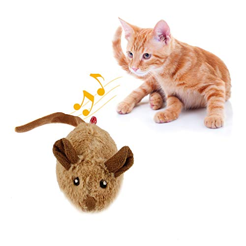 Gigwi Interactive Mouse Cat Toy, Squeaky Cat Toy with Real Mouse Electronic...