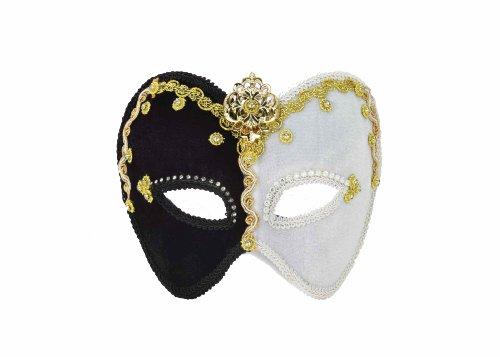 Forum Mardi Gras Fancy Trim 3/4 Mask, Black/White, One Size