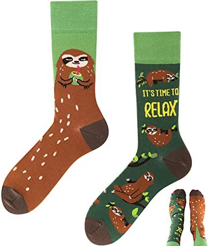 TODO Colours Lustige Socken mit Motiv - mehrfarbige, bunte, Verrückte für Herren und Damen (43-46, Sloth Socken)