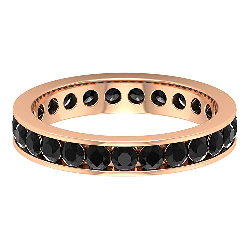 Anillo de diamantes negros de 2 quilates, banda de eternidad completa, anillo de oro rosa de 14 quilates, tamaño: UK Z+2