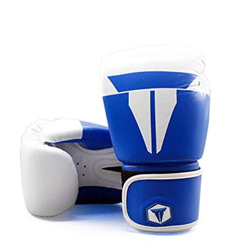 SHEHUIREN Boxhandschuhe Convex Skin Leder Punchinghandschuhe Für Sparring Kickboxen Kampfsport Boxsack Punching Fitness Sandsack Boxing Gloves,Blau,12oz
