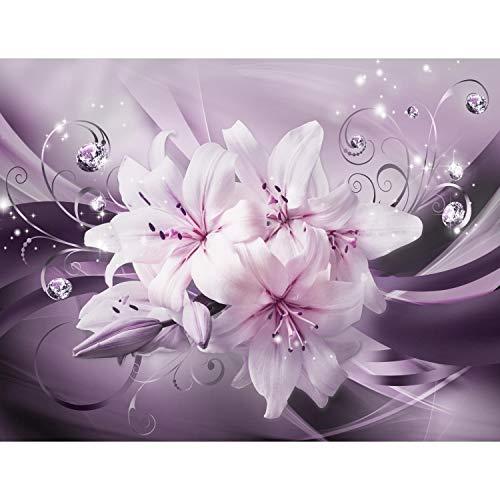 Runa Art Fototapete Blumen Lilien Modern Vlies Wohnzimmer Schlafzimmer Flur - made in Germany - Violett 9433010b
