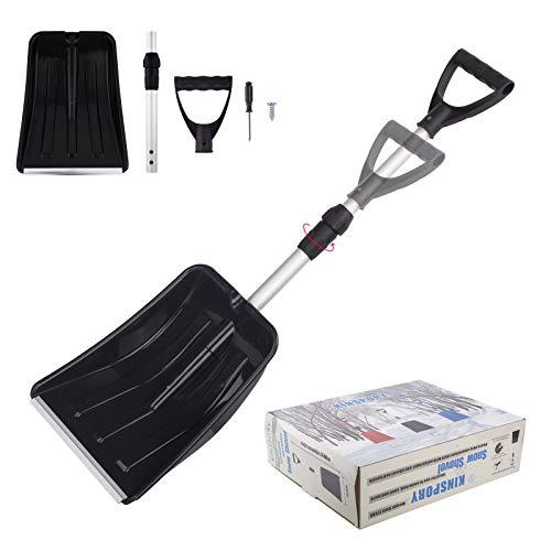 KINSPORY Portable Extendable Emergency Snow Shovel, Adjustable Handle, Heavy Duty Aluminum Shaft for Car SnowRemoval, Garbage Wipe Out, Shovel Soil (Black)