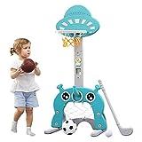 Arkmiido Canasta Baloncesto Infantil 5 en 1 Puntaje Fácil Puntaje de Baloncesto Ajustable GOL de Fútbol Juego de Golf Ring Toss Niños Bebé Niño (Azul Claro)