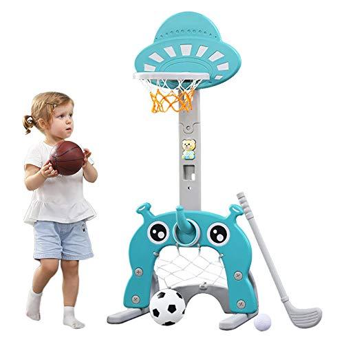Arkmiido Basketballkorb für Kinder 5 in 1 Sportaktivitätszentrum Einstellbar Einfaches Ergebnis Basketballkorb Fußball- / Fußballtor Golfspiel Ringwurf Kinder Baby Kleinkind Kleinkind (Hellblau)