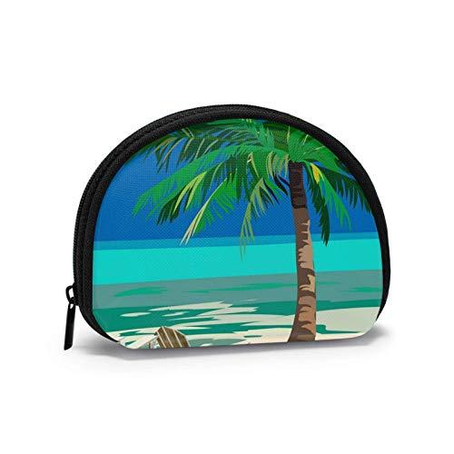 Summer Beach Lounge Stühle unter tropischer Palme Halbkreisförmiger Reißverschluss Geldbörse Geldwechsel Geldbörse.