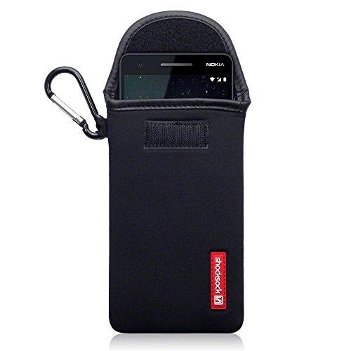 shocksock, Kompatibel mit Nokia 2.1 Neopren Tasche mit Carabiner Hülle - Schwarz