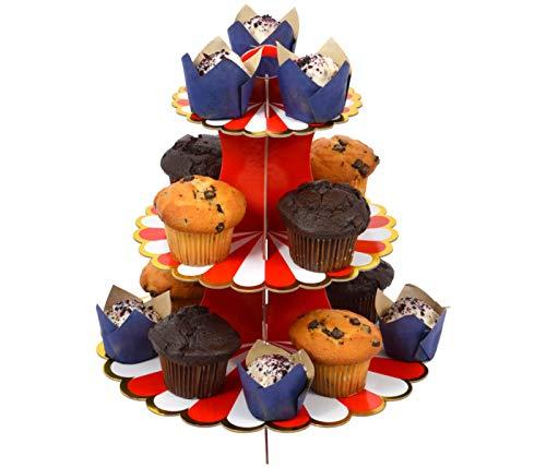 Etagere 3 Etagen Muffin Deko Cupcake Ständer Pappe 3-stöckig Babyparty Tortenständer Pappständer Muffinständer Groß (rot)