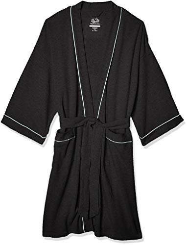 Fruit of the Loom Men's Waffle Kimono Robe, Black, One Size