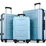 Merax Luggage Set with TSA Lock, All Expandable 3 Piece Hardshell Lightweight Suitcase Set 20inch 24inch 28inch (Light Silver Blue)
