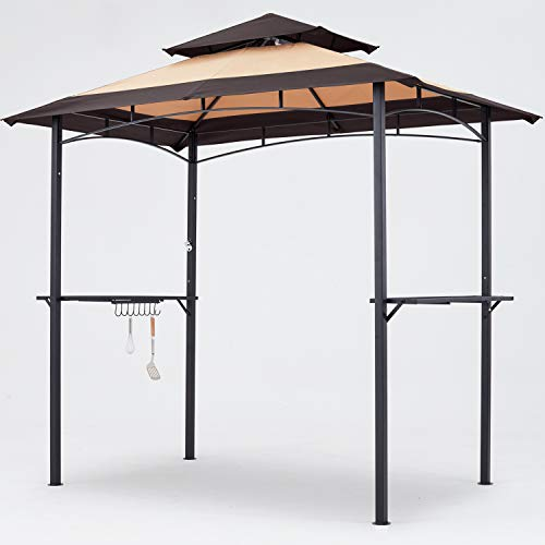 MasterCanopy Grill Gazebo 8 x 5 Double Tiered Outdoor BBQ Gazebo Canopy with LED Light (Brown Stitching Khaki)