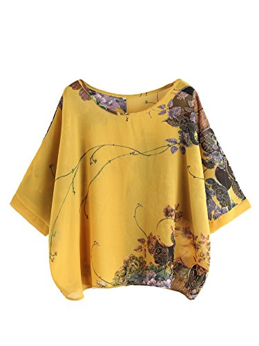 Milumia Women's Florals Batwing Sleeve Button Back Chiffon Blouse Yellow XX-Large