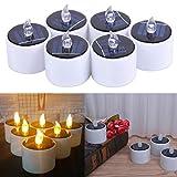 FunPa Candele LED Lumini Batteria, 6Pz Candela Solare Candele Senza Fiamma LED Luce Gialla Calda per Decorazione di Casa Camera Natale Partito Matrimoni Compleanno
