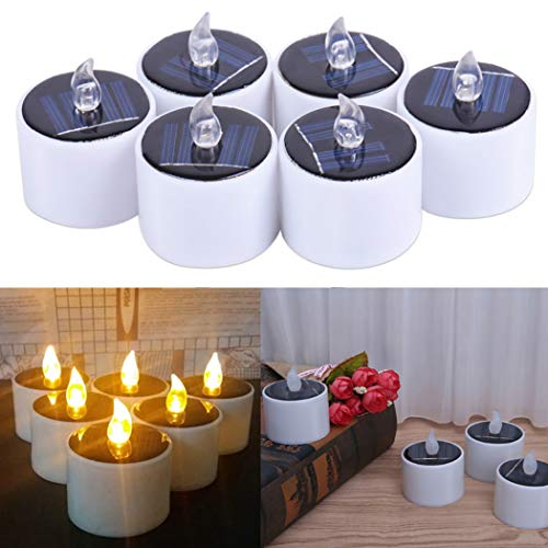 FunPa Solar Candles, 6Pcs Flameless Flickering Candles Waterproof Solar Powered and Battery Operated Led Tea Light Candles for Halloween Garden Festival Yard Bar Wedding Party (Type 2)