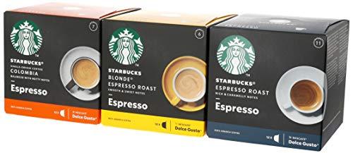 24 x cápsulas de Espresso Roast, Single-Origin Colombia & Blonde Roast Espresso,Cápsulas de café STARBUCKS by NESCAFE DOLCE GUSTO, con una variedad de diferentes tipos de tueste y blends de la familia STARBUCKS,Disfruta de STARBUCKS en casa. Tu café favorito sin salir de casa,Esta especial variedad de cápsulas ha sido seleccionada para que puedas degustar muestra completa gama de cafés,Cápsulas de café compatibles con las máquinas de café NESCAFE DOLCE GUSTO,Comprometidos con el abastecimiento ético de café al 100 % en colaboración con Conservation International