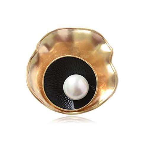 kerryshop Broches Broche de la Madre de joyería de Metal con Tapa Traje Perla Concha de Oro Broche Mujeres Broche Pin Colgante