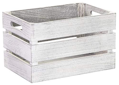 LAUBLUST Vintage Holzkiste mit Griffen - ca. 31 x 21 x 19 cm, Weiß, FSC® - Aufbewahrungskiste | Möbel-Kiste | Dekobox
