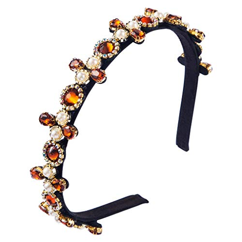 Damen Vintage Luire Schmuck Stirnband, Imitation Glas Bohrer Perle Perlen Dünne Reifen, Farbiger Strass Hochzeit Braut Party Bandana TINGG