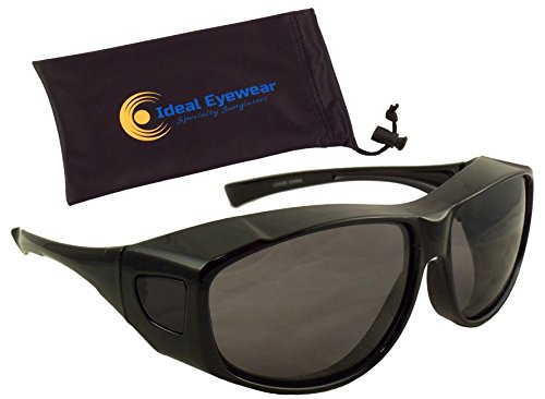 Fit Over Sunglasses with Polarized Lenses - Wear Over Glasses - Great for Fishing, Boating, Golf, & Driving (Black Frame / Smoke Lens, Large)