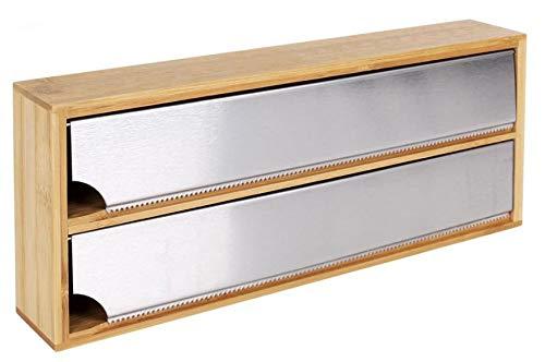 LEYENDAS Dispensador de bambú para Papel de Aluminio y de plástico/Film de Cocina (Bambú, 33,5x13x5,5cm)
