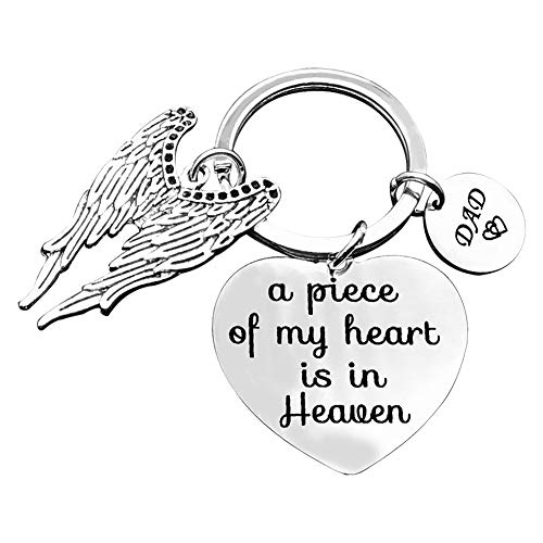 Memorial Keyring Gift A Piece of My Heart is in Heaven Keychain Dad Memorial Keychain Keyring Gift Sympathy Keyring Sympathy Gift for Loss of Father Remembrance Keyring
