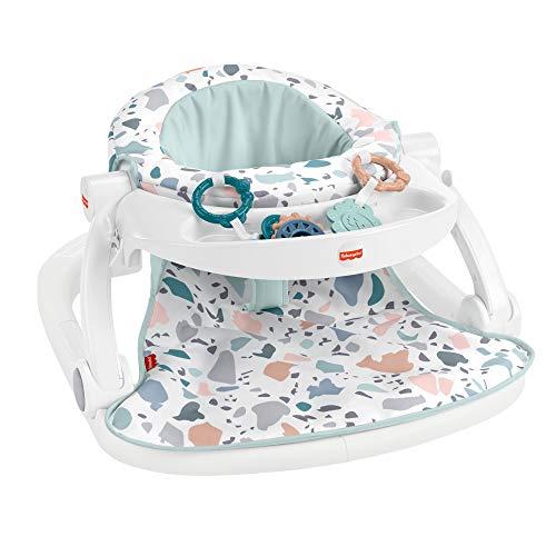 Fisher-Price siège d'activités pliable, siège de sol portable pour bébé avec 2 jouets et plateau amovible, coloris Terrazo, jusqu'à 11,3 kg, HBD68