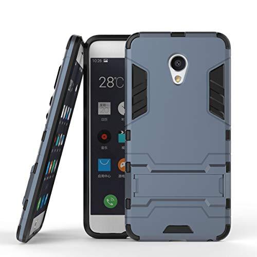 tinyue® Handyhülle für Meizu MX6, Hülle 2 in 1 Material Harte Schwer doppelte kratzfester Handyfall im Freienhandyfall Iron Man Rüstung mit Kickstand Hülle, Dunkelblau
