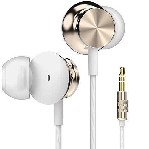 Betron BS10 Earbuds, in Ear Headphone, Noise Isolating Earphone Tips, Powerful Bass Sound, 3.5mm Jack, Gold