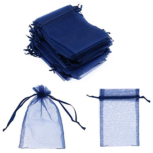 """SumDirect 100Pcs 4""""x6"""" Sheer Drawstring Organza Jewelry Pouches Wedding Party Christmas Favor Gift Bags (Blue)"""