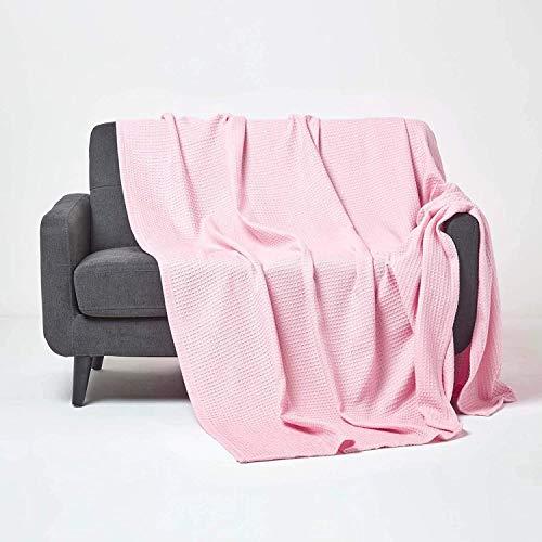 Homescapes Tagesdecke, Bettüberwurf aus 100% Bio-Baumwolle, rosa, Piqué-Waffeldecke 125 x 150 cm