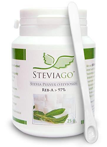 STEVIAGO Stevia Pulver (Steviosid) Extrakt aus 100% Stevia, davon min. 97% Reb-A, 25g, mit Dosierlöffel