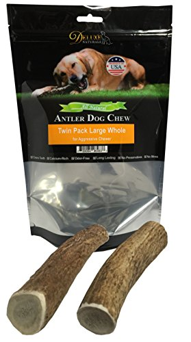 Deluxe Naturals Elk Antler Dog Chew, Whole, 50-90 Lb, Large, Twin Pack