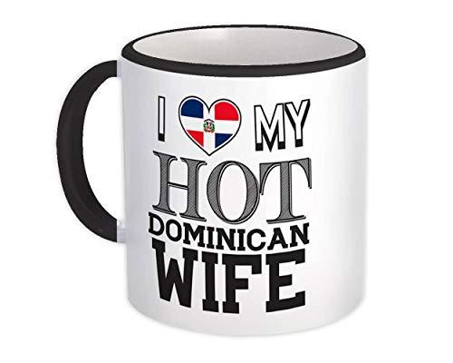 Amo a mi caliente esposa dominicana : Taza de Regalo : Bandera de República Dominicana el día de San Valentín