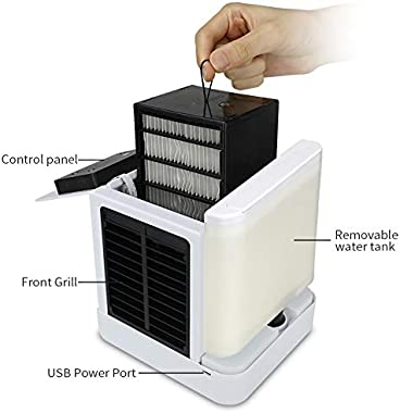 2020 New USB Humidifiers Mini Air Conditioners Electric 7 Colors Light Portable Space Air Cooler Table Fans Device Refrigerat