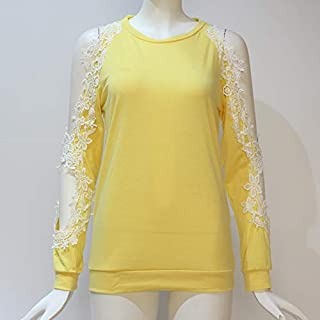 QGT Clothing Round Neck Hollow Strapless Lace Stitching Long-Sleeved T-Shirt, Size: XXL(Black) (Color : Yellow, Size : L)