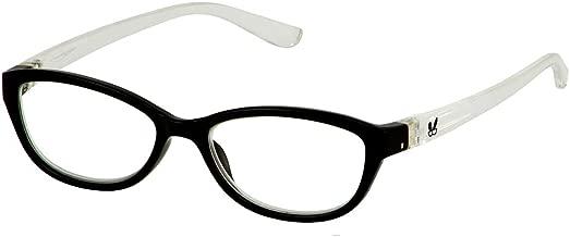 Bunny Eyez Haley Wearable, Tilt-able, Flip-able Women's Reading Glasses (Black/Crystal, 3.00)