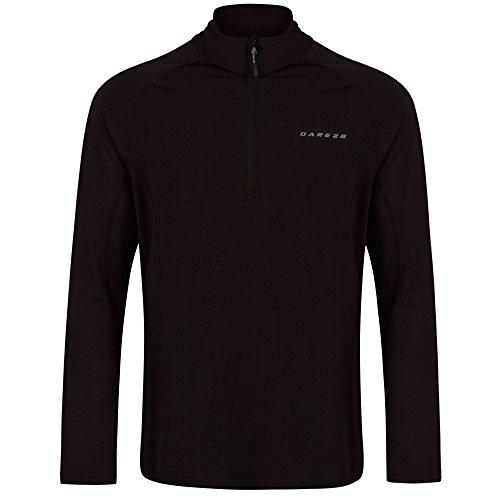 Dare 2b Fuseline III - Camiseta elástica de secado rápido con media cremallera para hombre, Hombre, capa intermedia elástica, DML333 80090, negro, XXL