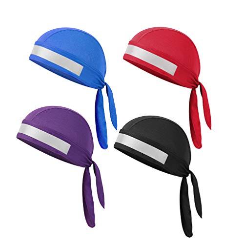 LIOOBO 4 Stücke Sport Radfahren Kappe Reflektierende Hut Komfortable Schnell Trocknende Schädel Kappe Kopf Wickeln zum Klettern Radfahren Wandern Laufen - (Lila + Schwarz + Blau + Rot)