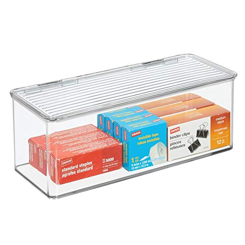 mDesign Plastic Stackable Home, Office Supplies Storage Organizer Box with Attached Hinged Lid - Holder Bin for Note Pads, Gel Pens, Staples, Dry Erase Markers, Tape - 5 High - Clear