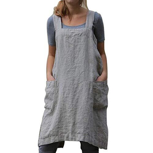 Küchen-Kochschürzen Weiche Baumwoll-Leinen-Schürze Japanischer Stil X-Form Doppeltaschen Runder Rock zum Kochen, Einweihen, Tägliche Aufgaben (Grey, L)
