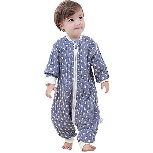 HS-01 babyslaapzak, kleine sterrenmotief-slaapzak, geschikt voor 75-85 cm hoogte baby, 100% organic katoen (blauw)